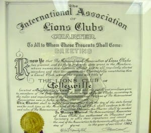 The Lions Club of Colleyville Original Charter, June 1, 1982